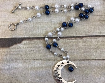 I love you to the moon and back blue and white glass faux pearl necklace, anniversary gift, Mother's Day gift, christmas gift