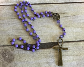 Light purple ankh rosary, ankh jewelry, pagan prayer beads, pagan rosary, wiccan necklace, wiccan jewelry, egyptian inspired, ankh necklace