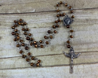 Metallic brown catholic rosary, sparkly rosary, modern rosary, glass rosary, unique rosary, baptism gift, first communion gift, confirmation