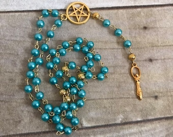 Bright blue and gold spiral goddess pagan rosary, pagan prayer beads, wiccan prayer beads, occult rosary, goddess jewelry