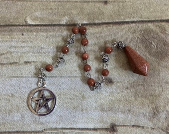 Pentacle goldstone pendulum, crystal pendulum, sparkle pendulum, wiccan pendulum, occult pendulum, pagan pendulum