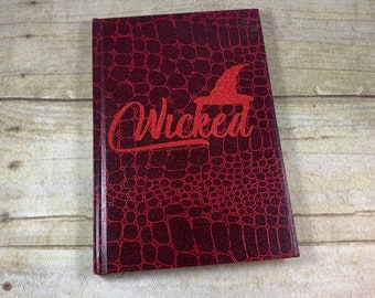 Red glitter wicked journal, witch journal, pagan journal, wiccan journal, occult journal, book of shadows, grimoire, witch notebook