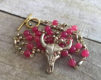 Pink and soft gold bull necklace, skull jewelry, boho gift, handmade jewelry, birthday gift