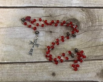 Res and black ankh prayer beads, pagan prayer beads, pagan rosary, ankh jewelry, wiccan rosary, wiccan necklace, occult rosary, ankh rosary