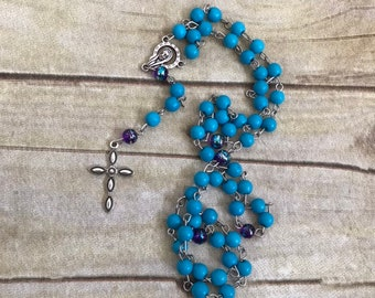 Blue and purple catholic rosary, baptism gift, first communion gift