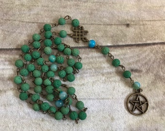 Apple green pentacle oil diffuser rosary, pagan prayer beads, pagan oil diffuser jewelry, wiccan rosary, occult necklace