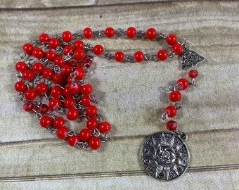 Red zodiac pagan prayer beads, astrology prayer beads, horoscope prayer beads, wiccan prayer beads, pagan rosary, wiccan rosary