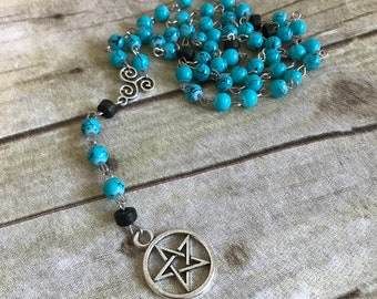 Blue drizzle pagan rosary, pagan prayer beads, wiccan necklace, wiccan jewelry, occult jewelry, pentacle necklace, pentacle rosary