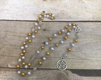 Yellow and white pagan rosary