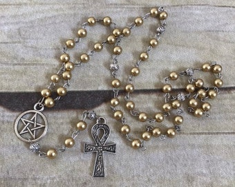 Golden glass pearl ankh rosary, pagan prayer beads, pagan jewelry, ankh necklace, wiccan jewelry, wiccan rosary