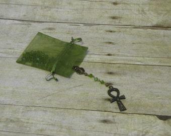 Green Ankh Scarab Rosary