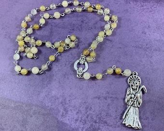 Golden rutilated quartz Santa muerte rosary, nuestra senora de la Santa Muerte, santisima muerte, holy death rosary, sacred death rosary,