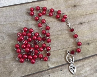 Red glass faux pearl goddess prayer beads, love goddess, spiral goddess, pagan prayer beads, wiccan rosary, goddess jewelry