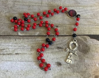 Red galaxy ankh rosary, pagan prayer beads, ankh jewelry, pagan necklace, wiccan jewelry, wiccan necklace, egyptian inspired