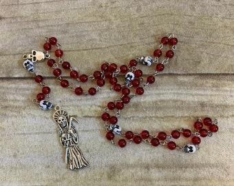 Red and white skull santa muerte rosary, santisima muerte, nuestra senora de la santa muerte, holy death rosary, sacred death rosary