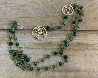 Green scale tree of life pagan rosary, pagan prayer beads, wiccan prayer beads, tree of life jewelry, occult prayer beads, witch's rosary