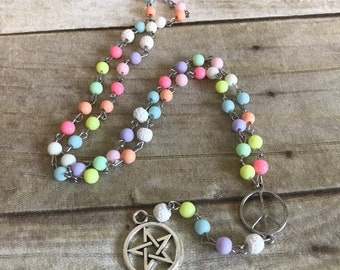 Pastel rainbow pagan rosary, wiccan necklace, pagan peace sign, pentacle jewelry, handmade, one of a kind
