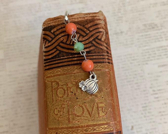 Featured listing image: Orange and green pumpkin bookmark, fall bookmark, halloween bookmark, autumn bookmark, harvest bookmark, seasonal bookmark