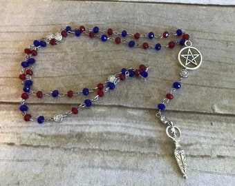 Blue and red goddess rosary, pagan rosary, pagan prayer beads, wiccan goddess, wiccan necklace, wiccan jewelry