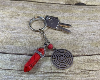 Wheel of Hecate keychain, red howlite Hecate keychain, hekate keychain, crystal keychain, essential oil keychain, pagan keychain, wiccan key
