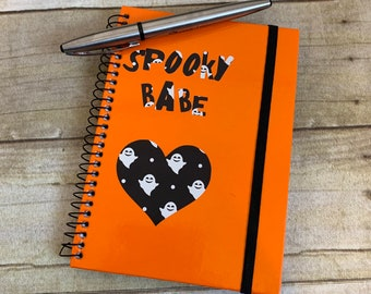 Spooky babe ghost notebook, pastel goth notebook, gothic journal, gothic notebook, ghost stationary, halloween journal, ghost gift