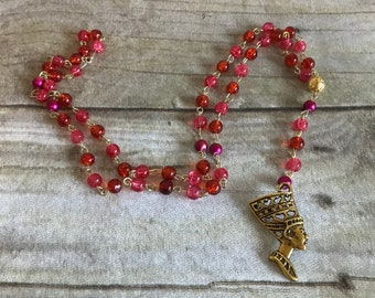 Red scale crackle nefertiti rosary, egyptain goddess, pagan rosary, pagan prayer beads, wiccan jewelry, nefertiti necklace, pagan jewelry