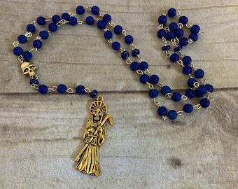 Blue and gold Santa muerte rosary, santisima muerte rosary, nuestra senora de la Santa Muerte, holy death, sacred death, saintly death