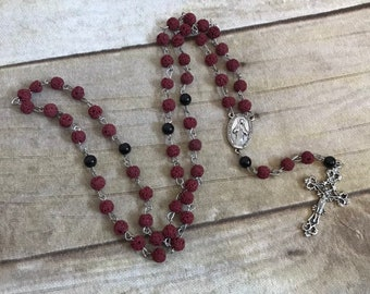 Red and black lava rock rosary, handmade catholic rosary, essential oil diffuser rosary, modern rosary, one of a kind rosary