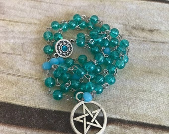 Blue crackle pagan rosary, wiccan jewelry, pentacle necklace, occult gift, handmade, one of a kind, witch gift