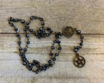 Dark blue and antiqued beass pagan rosary, pentacle rosary, pentacle orayer beads, wiccan rosary, tree of life, occukt prayer beads