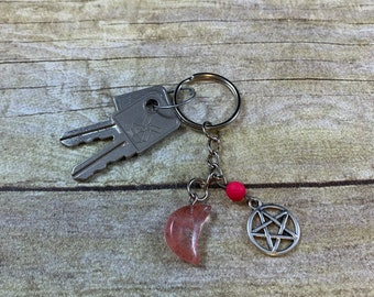 Cherry quartz pentacle moon keychain, crystal keychain, lava rock keychain, essential oil keychain, diffuser keychain, witch keychain