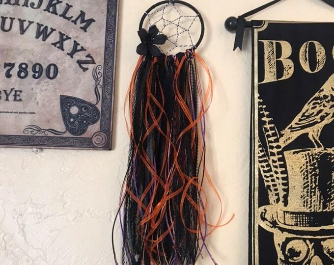Featured listing image: Orange purple and black dreamcatcher, gothic dreamcatcher, halloween dreamcatcher, ribbon dreamcatcher, alternative dreamcatcher
