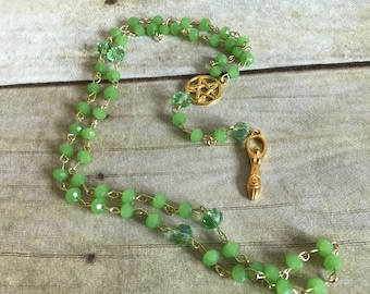 Green and gold goddess rosary, wiccan rosary, occult gift, pagan jewelry, spiral goddess, handmade, one of a kind