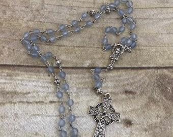 Blue sea glass celtic inspired rosary, catholic rosary, first communion, baptism, prayer beads