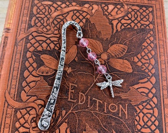 Pink dragonfly bookmark, dragonfly gift, bug bookmark, garden bookmark, nature bookmark, insect bookmark, glass bookmark