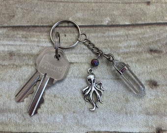 Clear quartz octopus keychain, octopi keychain, Cthulhu keychain, crystal keychain, essential oil keychain, diffuser keychain
