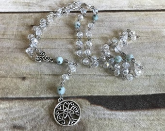 Clear tree of life pagan rosary, tree of life jewelry, pagan prayer beads, wiccan necklace, wiccan jewelry
