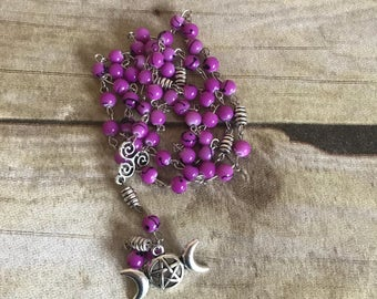 Purple and black paint splatter pagan rosary, triple goddess rosary, pentacle jewelry, wiccan necklace