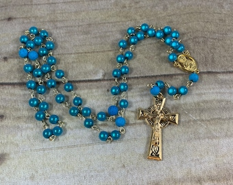 Blue and gold mirrored acrylic rosary, catholic rosary, light weight rosary, modern rosary, unique rosary, baptism gift, first communion
