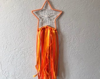 Orange ribbon star dreamcatcher, modern dreamcatcher, star home decor, celestial decor, woven wall hanging, scrap dreamcatcher