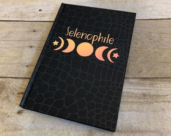Selenophile iridescent journal, moon journal, moon phase journal, witch journal, book of shadows, celestial journal, moon notebook
