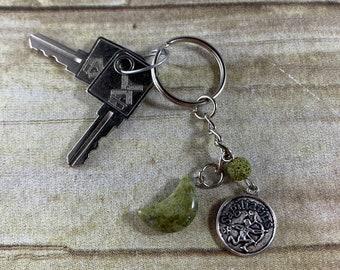 Sagittarius moss agate crystal keychain, moon keychain, zodiac keychain, astrology keychain, essential oil keychain, star sign keychain,