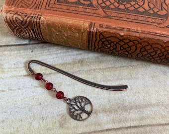 Red and copper tree of life bookmark, Yggdrasil bookmark, celtic bookmark, nature bookmark, pagan bookmark, wiccan bookmark