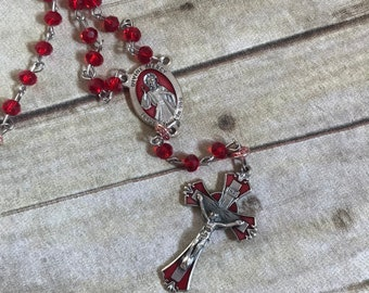 Red enamel saint Fatima catholic rosary, catholic jewelry, italian silver rosary, handmade rosary, religious jewelry, religious gift