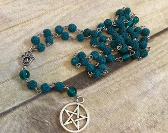 Blue and teal green pentacle oil diffuser rosary, pagan prayer beads, wiccan jewelry, occult necklace, wiccan rosary