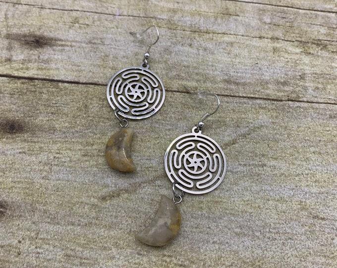 Featured listing image: Yellow agate wheel of Hecate earrings, hekate earrings, stone earrings, crystal earrings, goddess earrings, pagan earrings, occult earrings