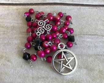 Stardust pink acrylic pagan rosary, magenta pagan rosary, pentacle jewelry, wiccan necklace, occult gift, handmade, one of a kind