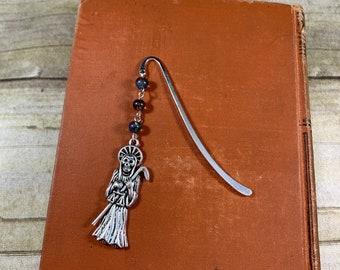Cool rainbow splatter Santa muerte bookmark, santisima muerte, holy death bookmark, nuestra senora De la muerte, sacred death, saintly death