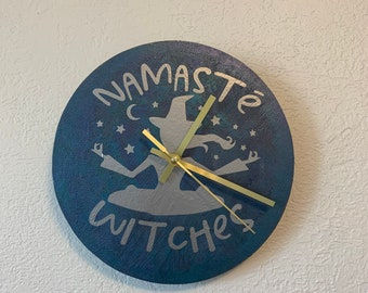Silver, purple and blue namastē witches clock, namaste clock, witch clock, yoga clock, pagan clock, wiccan clock, pagan home decor,