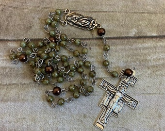 Camo inspired rosary, green and brown rosary, mens rosary, first communion gift, baptism gift, confirmation gift, glass rosary